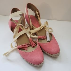 Ann Taylor Pink Suede Lace Up Gladiator Sandals 7